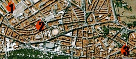 Lugares donde se han quemado los contenedores.