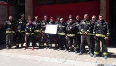 Los bomberos, concentrados en Almazán. / SN
