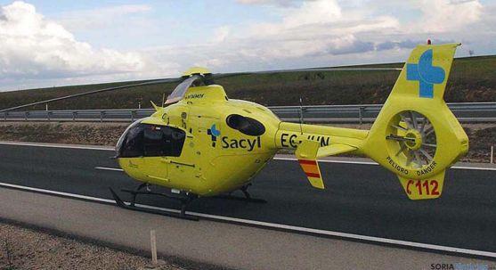 Un helicóptero destinado al transporte aéreo sanitario en Castilla y León. / Jta.