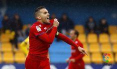 Julio celebra su último gol de esta temproada. LFP