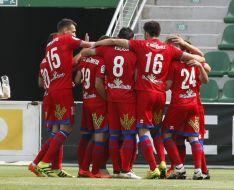 Los jugadores rojillos celebrando un gol. LFP