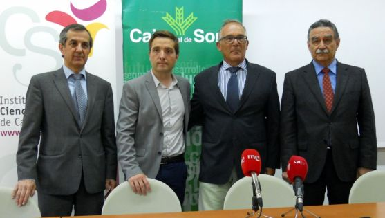 Caballero (izda.), Juárez, Córdova y García este lunes en la sede del IESCYL./SN