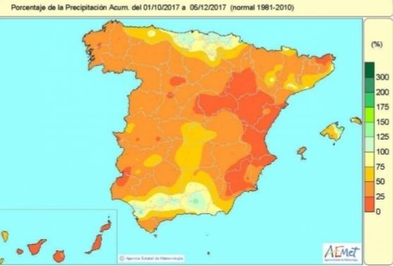 Mapa de España que muestra la precipitación acumulada.