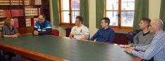 Cuatro de los aspirantes este martes en el ayuntamiento./Ayto