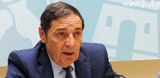 El consejero Antonio Mª Sáez Aguado este miércoles en rueda informativa.