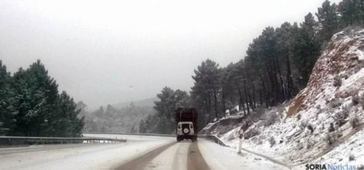 Nieve en las carreteras sorianas.