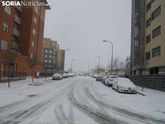 Nieve en un punto de circulación en Soria. Soria Noticias.