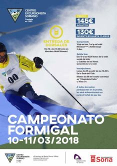 Cartel que patrocina el Campeonato de Formigal. Centro Excursionista Soriano.