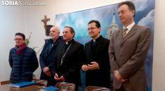 Gómez (izda.), Márquez, Martínez Varea, Rodríguez y Alonso en la presentación de los actos. /SN