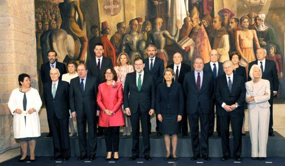 Los galardonados, con dirigentes del Gobierno y de la Junta. /Jta.