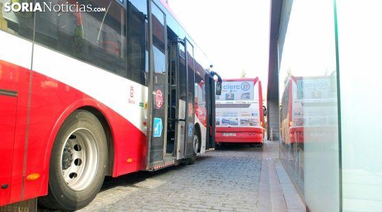 Autobuses urbanos en la capital soriana. /SN