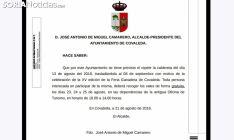 El texto difundido por la Alcaldía covaledense. /SN