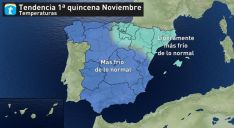 Mapa para la primera quincena de este mes entrante. /eltiempo.es