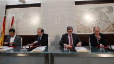 Temprano (izda.), Herrera, Aparicio y Vicente Andrés este miércoles. /Jta.