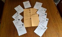 Papeletas electorales con las candidaturas presentadas en la provincia de Soria al Congreso y al Senado. /SN