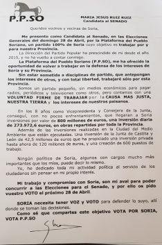 Carta que remite María Jesús Ruiz.