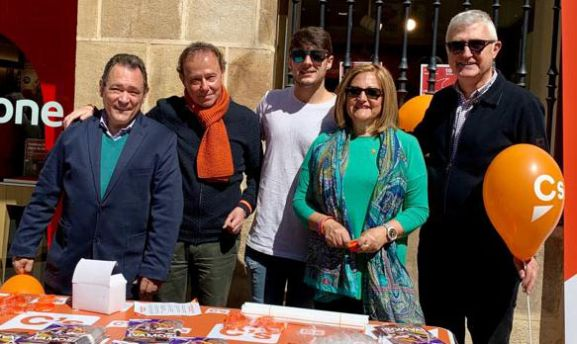 De Gregorio, (izda.) este viernes con compañeros de candidatura de Cs en Soria.