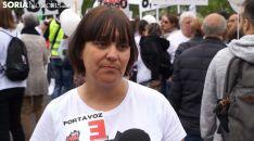 Vanessa García, portavoz de la Soria Ya en una imagen de la manifestación en Madrid. /SN
