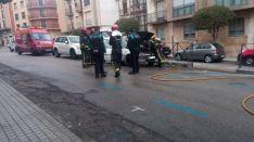 Arde un coche en la calle Doctrina. sN